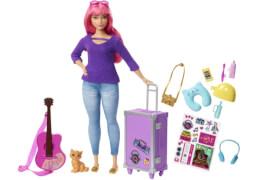 Mattel FWV26 Barbie® Reise Puppe (pink) und Zubehör