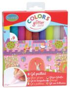 9 Pailletten-Gel Stifte Pastellfarben
